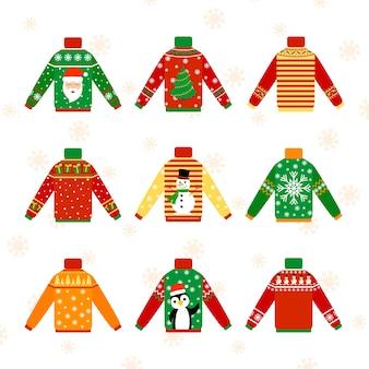 冬の天候のためのかわいい暖かいクリスマスセーターセット。クリスマスプルオーバーまたはジャンパーのコレクション。休日の居心地の良い服。漫画のスタイルのベクトルイラスト。