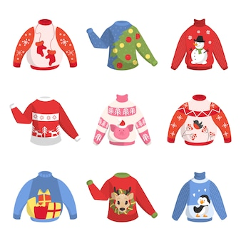 Cute warm christmas sweater for winter weather set.