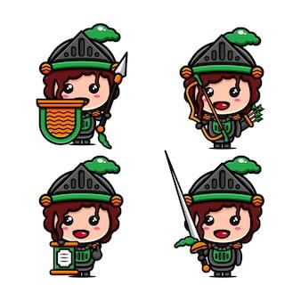 싸울 준비가 된 귀여운 전사 캐릭터 디자인