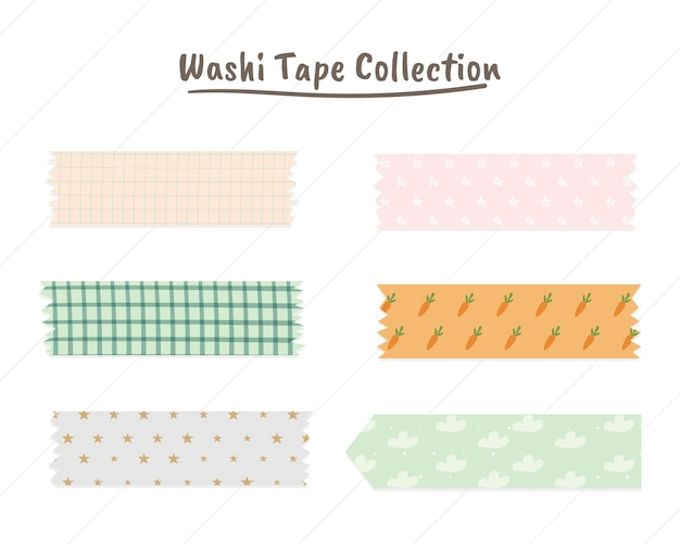 Cute washi tape collection in pastel color premium vector