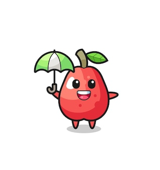 傘を持ってかわいい水りんごのイラスト、tシャツ、ステッカー、ロゴ要素のかわいいスタイルのデザイン