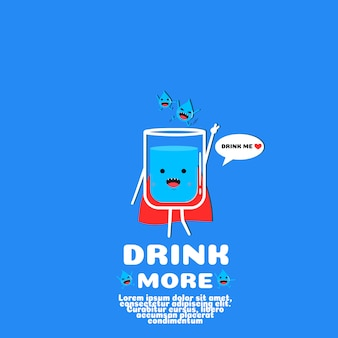 Cute water cartoon vector. drink more concept