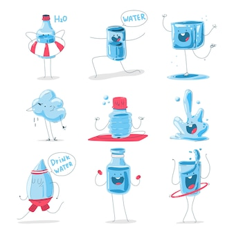 Cute water characters cartoon set isolated on a white background.