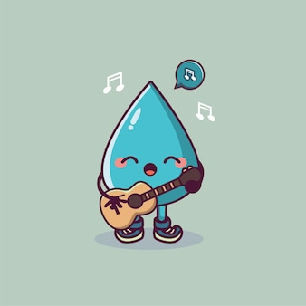 Cute water drop cartoon character holding guitar and singing
