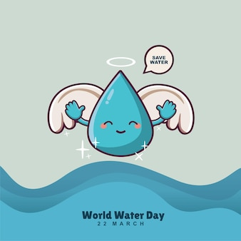 Cute water drop cartoon character with wings world water day banner concept