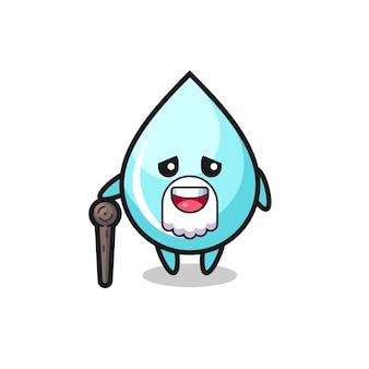 Cute water drop grandpa is holding a stick , cute style design for t shirt, sticker, logo element