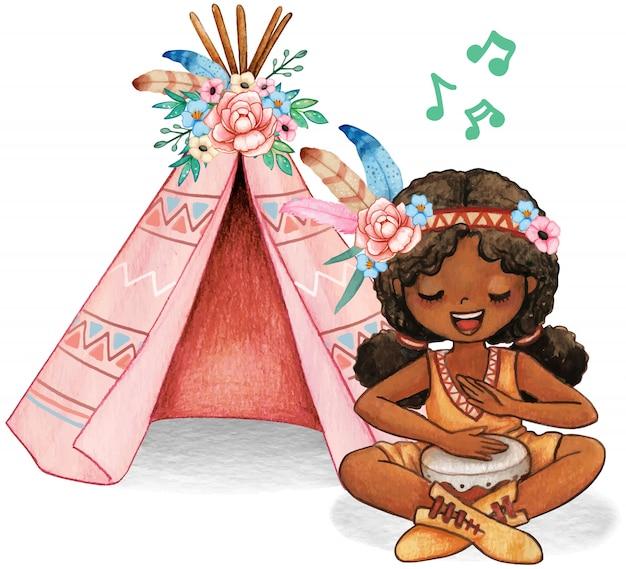おさげの歌とネイティブアメリカンの衣装でドラムを演奏するかわいい水彩画アフロガール