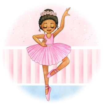 Cute watercolor afro princess ballerina