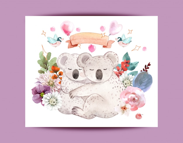 Cute watercolor animals for design.