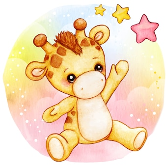 Cute watercolor baby giraffe sitting on raiinbow background