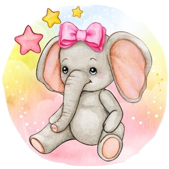 Cute watercolor baby girl elephant sitting on raiinbow background