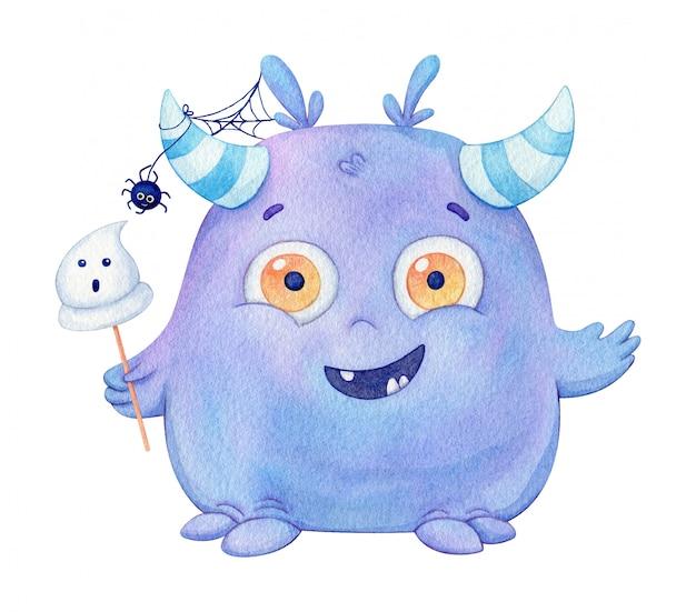 귀여운 수채화 아기 괴물. 아이 디자인을위한 거미와 유령 사탕과 작은 보라색 문자