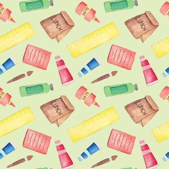 Cute watercolor back to school supplies seamless pattern