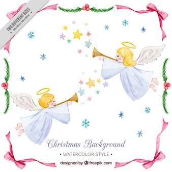 천사가 트럼펫을 연주와 함께 귀여운 수채화 배경