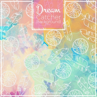 Cute watercolor background with hand drawn dream catchers
