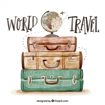 Cute watercolor background with luggage