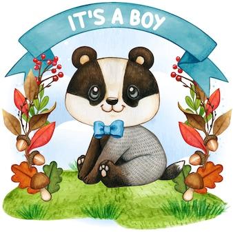 Милый акварельный барсук, это мальчик, иллюстрация детского душа