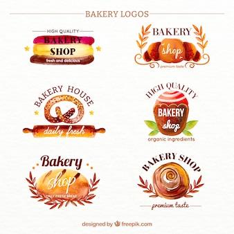 Cute watercolor bakery logos set