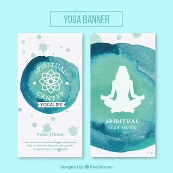Cute watercolor banners of yoga with symbol and silhouette