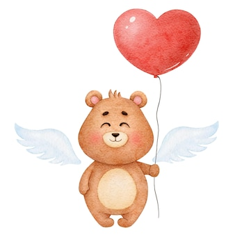 Cute watercolor bear angel with balloon heart, illustration for valentine's day
