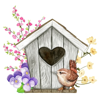 Cute watercolor birdhouse with heart shaped hole with flowers