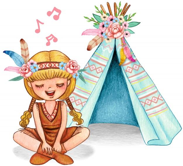 ネイティブアメリカンの衣装で歌っているおさげ髪のかわいい水彩画ブロンドの女の子