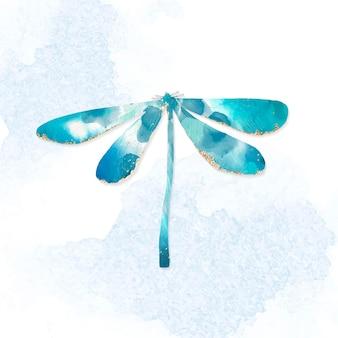 귀여운 수채화 블루 잠자리