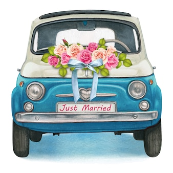 Cute watercolor blue and white shiny vintage car, wedding day