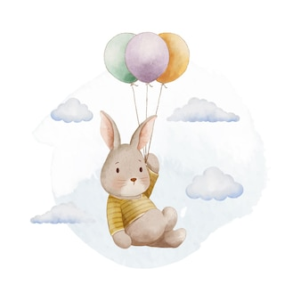 Cute watercolor bunny and balloon illustration