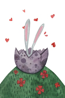 卵殻のかわいい水彩画のウサギのイースターの耳