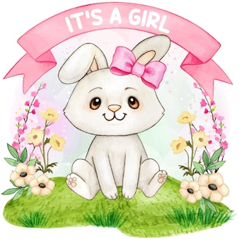 귀여운 수채화 토끼 소녀 베이비 샤워