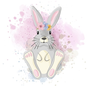 Cute watercolor bunny
