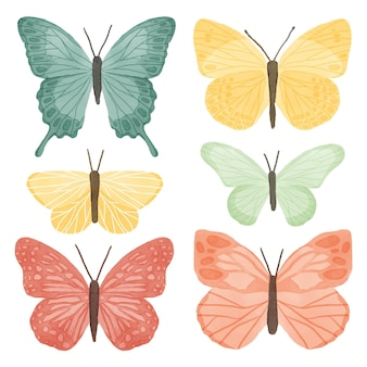 Cute watercolor butterflies collection