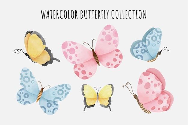 Коллекция милых акварельных бабочек