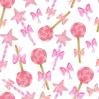 かわいい水彩キャンディーとロリポップのシームレスなパターン