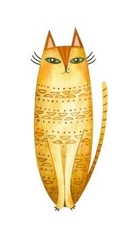Милый акварельный кот