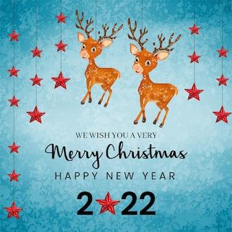 사슴 동물과 붉은 별과 귀여운 수채화 크리스마스 배경