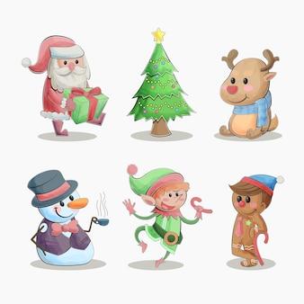 Симпатичные акварельные рождественские персонажи коллекции иллюстрации