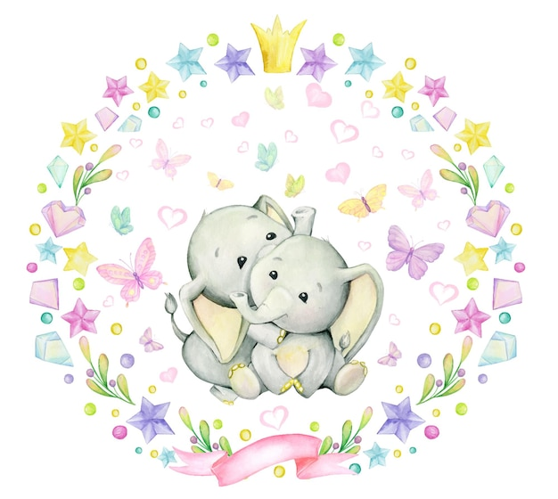 Cute watercolor clipart with elepahnts, round frame and lovely elements.