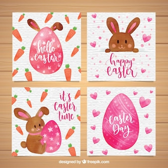 Cute watercolor easter card collection