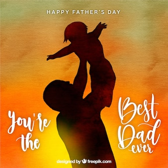 Cute watercolor fathers day background