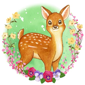 Cute watercolor fawn in a wild flower frame