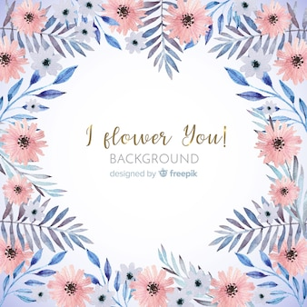 Cute watercolor floral frame background