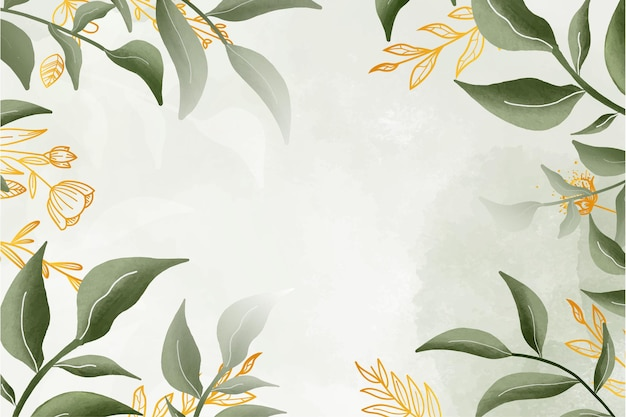 水彩画の背景を持つかわいい水彩花フレーム