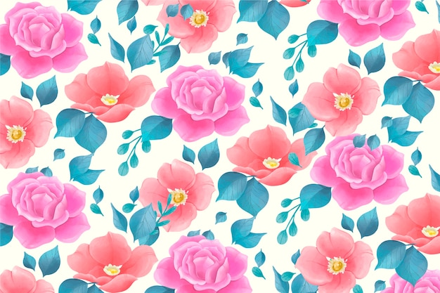 Cute watercolor floral pattern with rose flowers