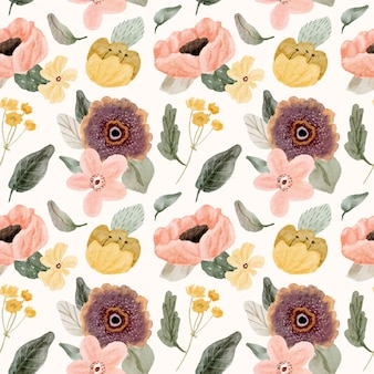 Cute watercolor floral seamless pattern