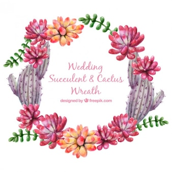 Cute watercolor floral wreath and cactus for wedding