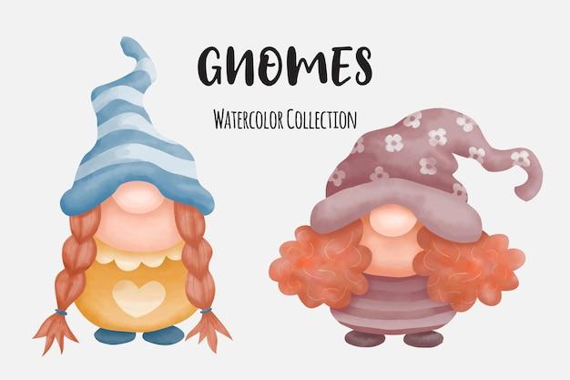 Коллекция милых акварельных гномов