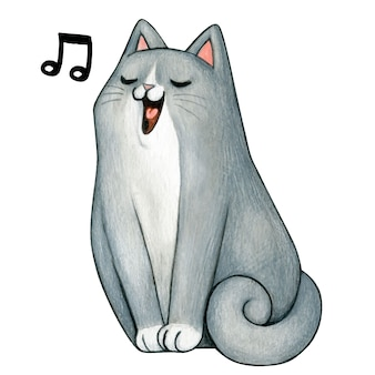Cute watercolor gray kitten singing