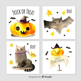 Cute watercolor halloween card collection